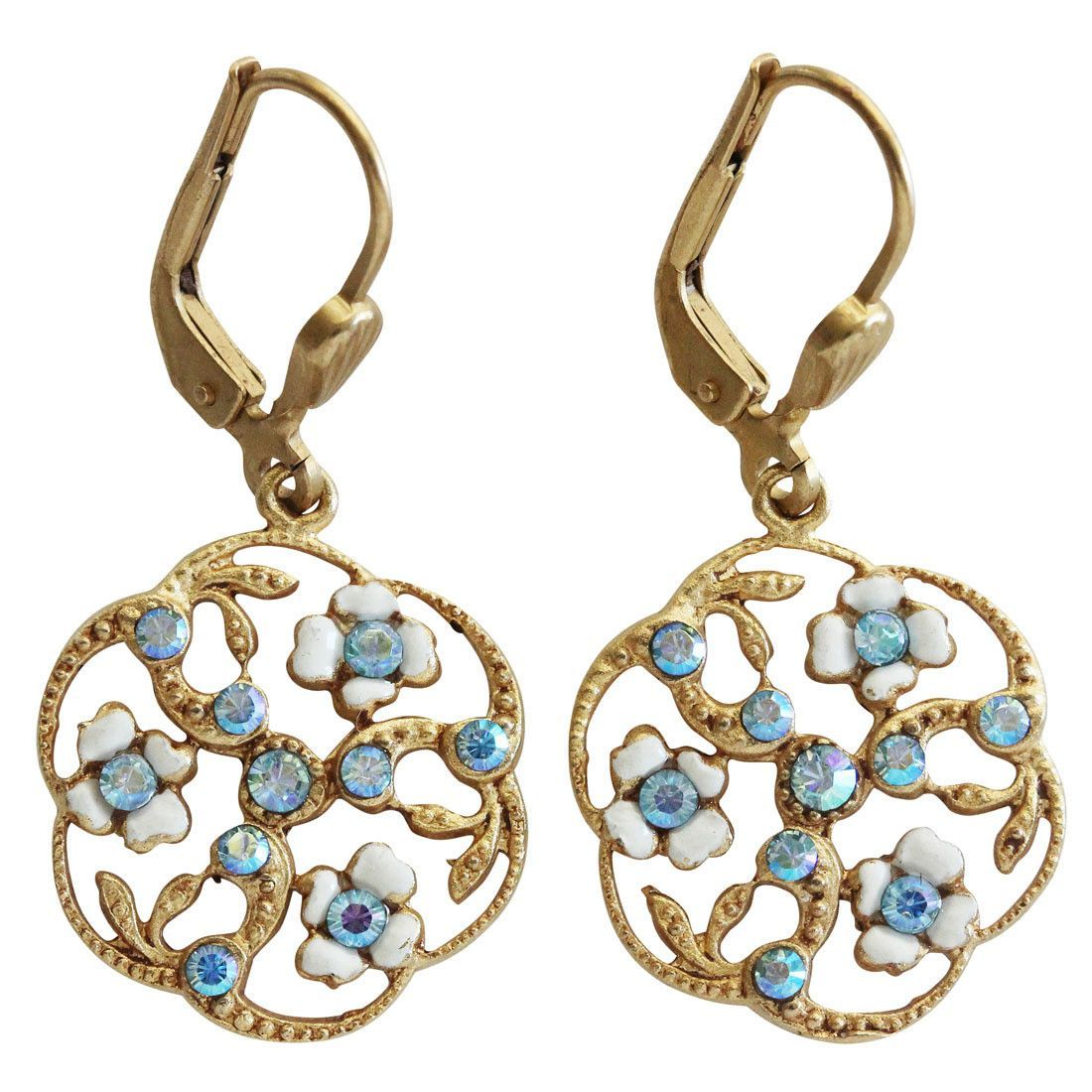 Catherine Popesco 14k Gold Plated Enamel Round Floral Petite ...