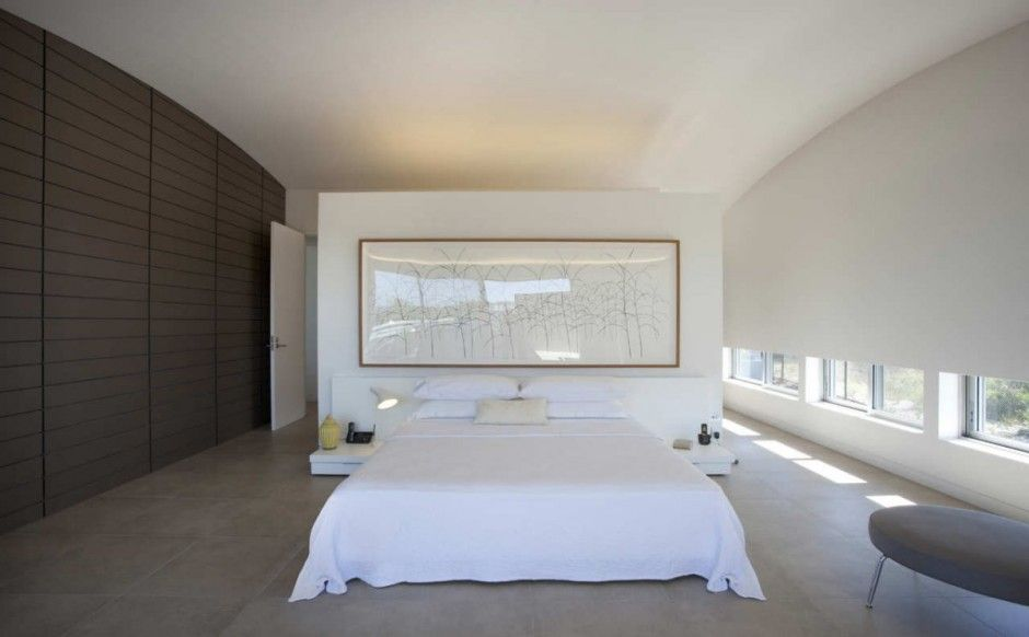 love this bedroom! love the left wall, love the low windows, low bed