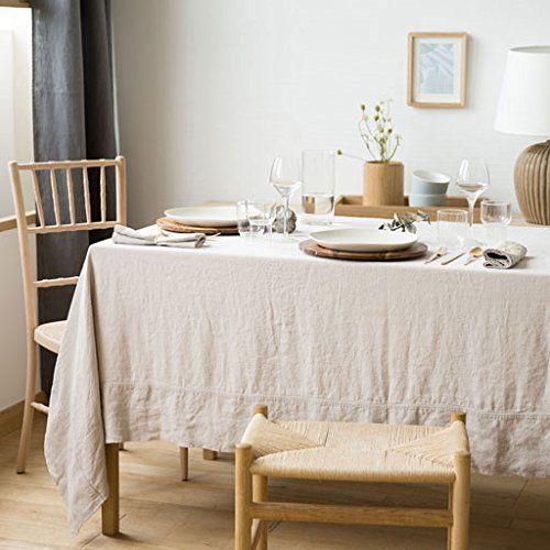 Pure Linen Tablecloth Frame Border And 6 Napkins Home Decor 100 Linen 86 6x59 Natural Color Review Table Cloth