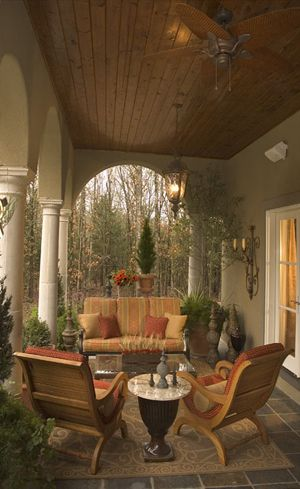 gorgeous porch - wood ceiling, ceiling fan, Mexican tile floor