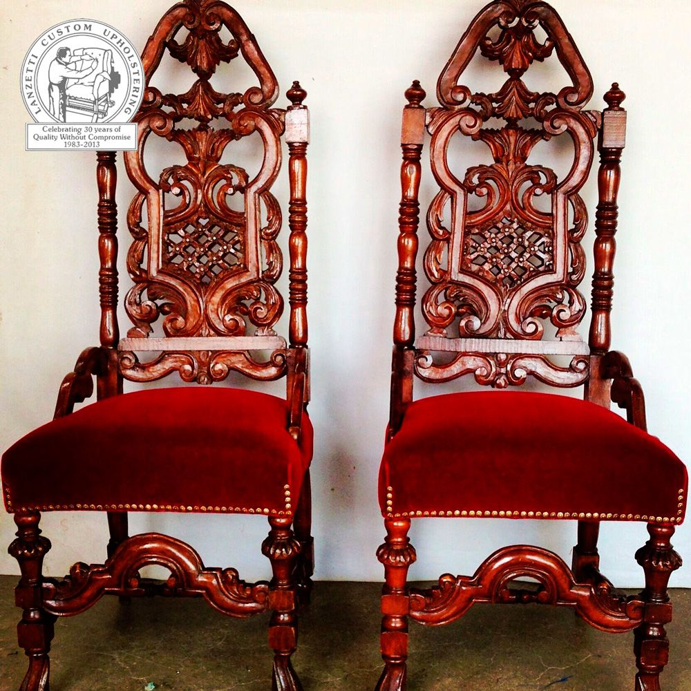 custom spanish style furniture. Ornate Spanish-style Wooden Chairs With Red Cushions. Http://www. Custom Spanish Style Furniture E