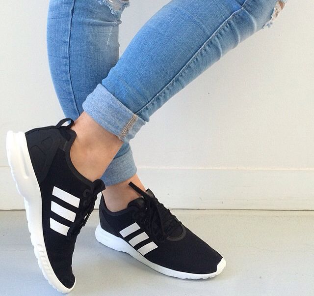 sneakers for cheap 483ab 4b530 Adidas Original ZX Flux SMOOTH in Core Black and White - Adidas Shoes for  Woman - amzn.to 2gzvdJS