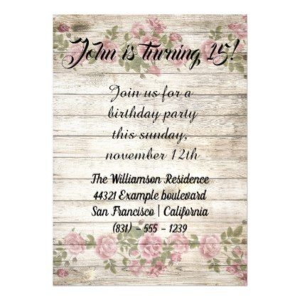 Flowers wood rustic birthday party invitation birthday invitations flowers wood rustic birthday party invitation birthday invitations diy customize personalize card party gift filmwisefo