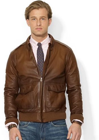 Brown Leather Bomber Jacket By Polo Ralph Lauren Buy For 497 From