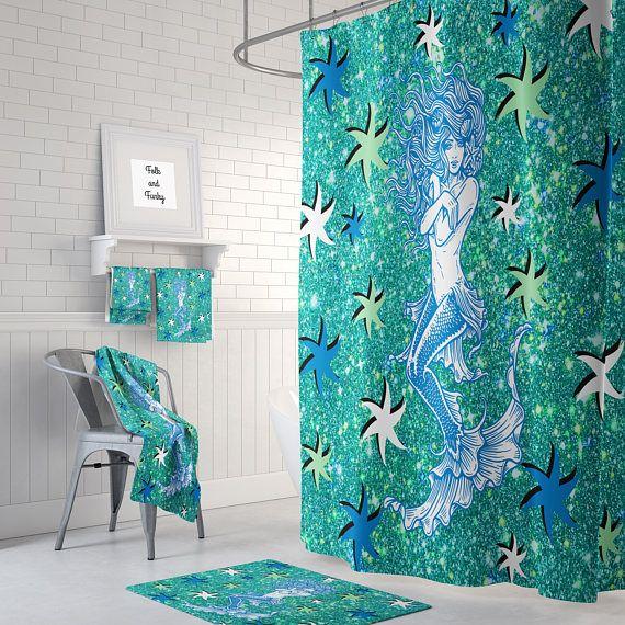 Mermaid Shower Curtain Mermaid And Starfish Aqua , Bath Mat , Towels