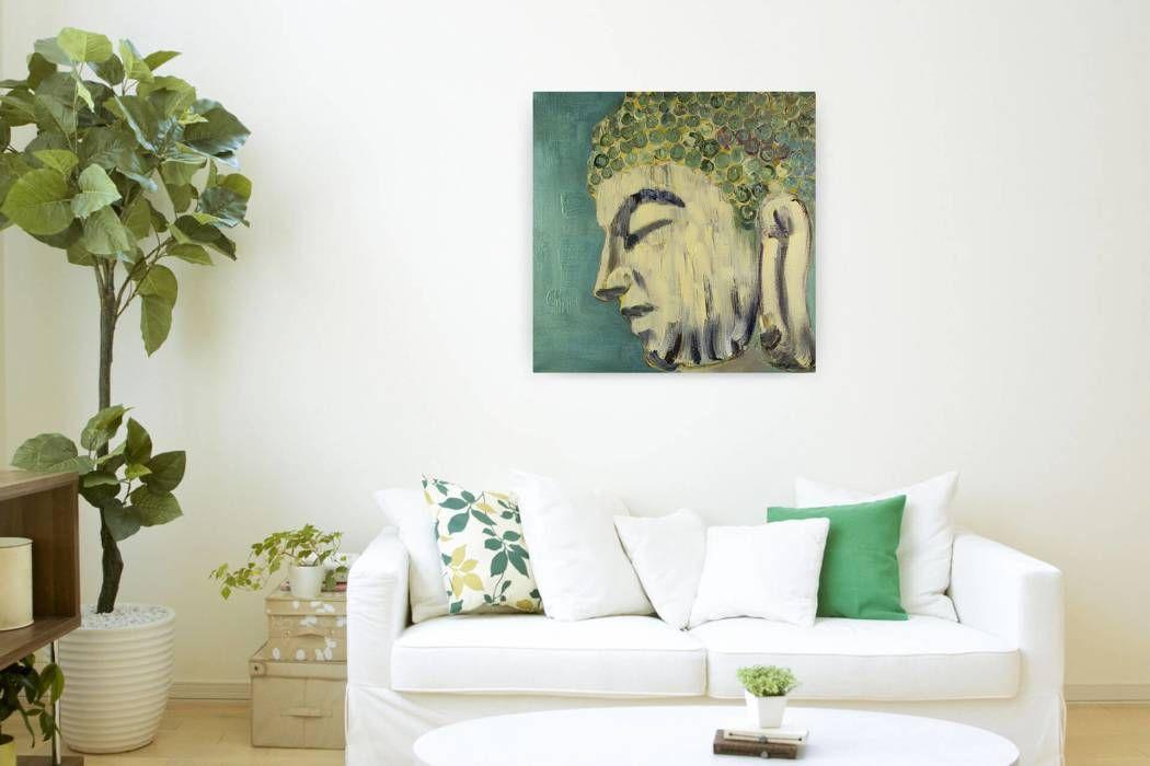 Moderne Wohnzimmer Bilder Acryl Gemälde u0027Buddhismusu0027 80x80cm für - moderne bilder furs wohnzimmer