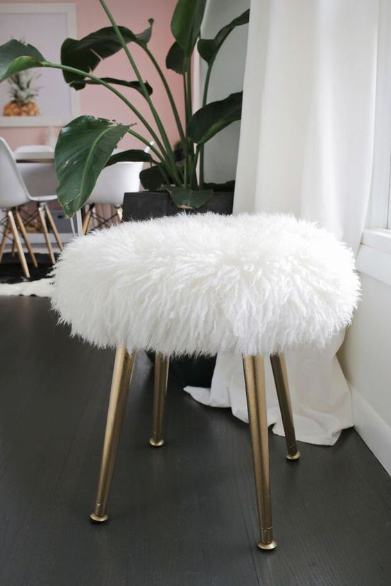 Diy Glamorous Faux Lamb Fur Covered Stool With Gold Legs