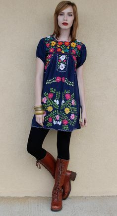 979fb5befd Vintage Mexican Dress Embroidered Dress Vintage Hippie Dress Vintage ...