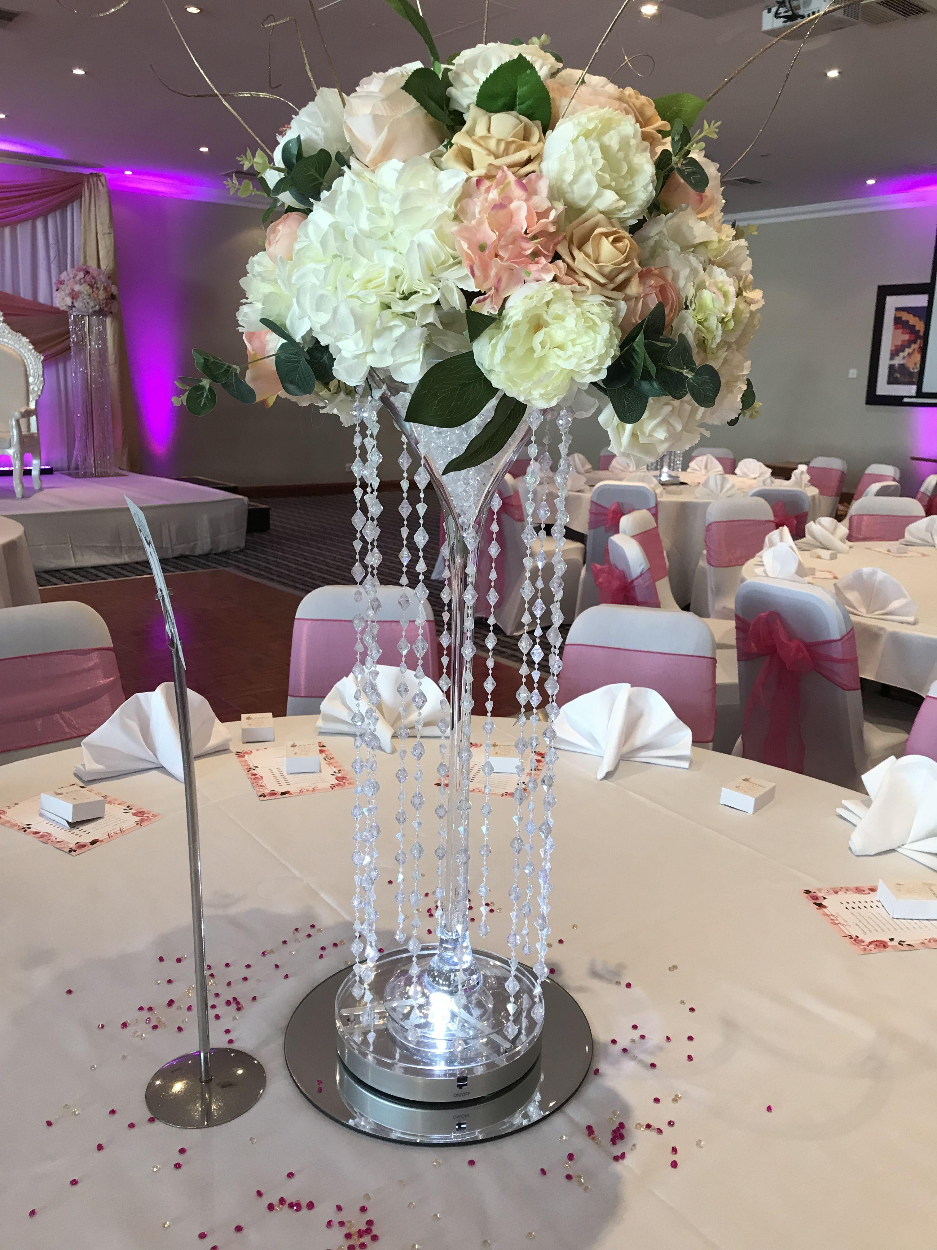 Oversize Martini Glass Center Piece With Silk Flowers Enchanted Wedding Silk Flower Arrangements Silk Flowers