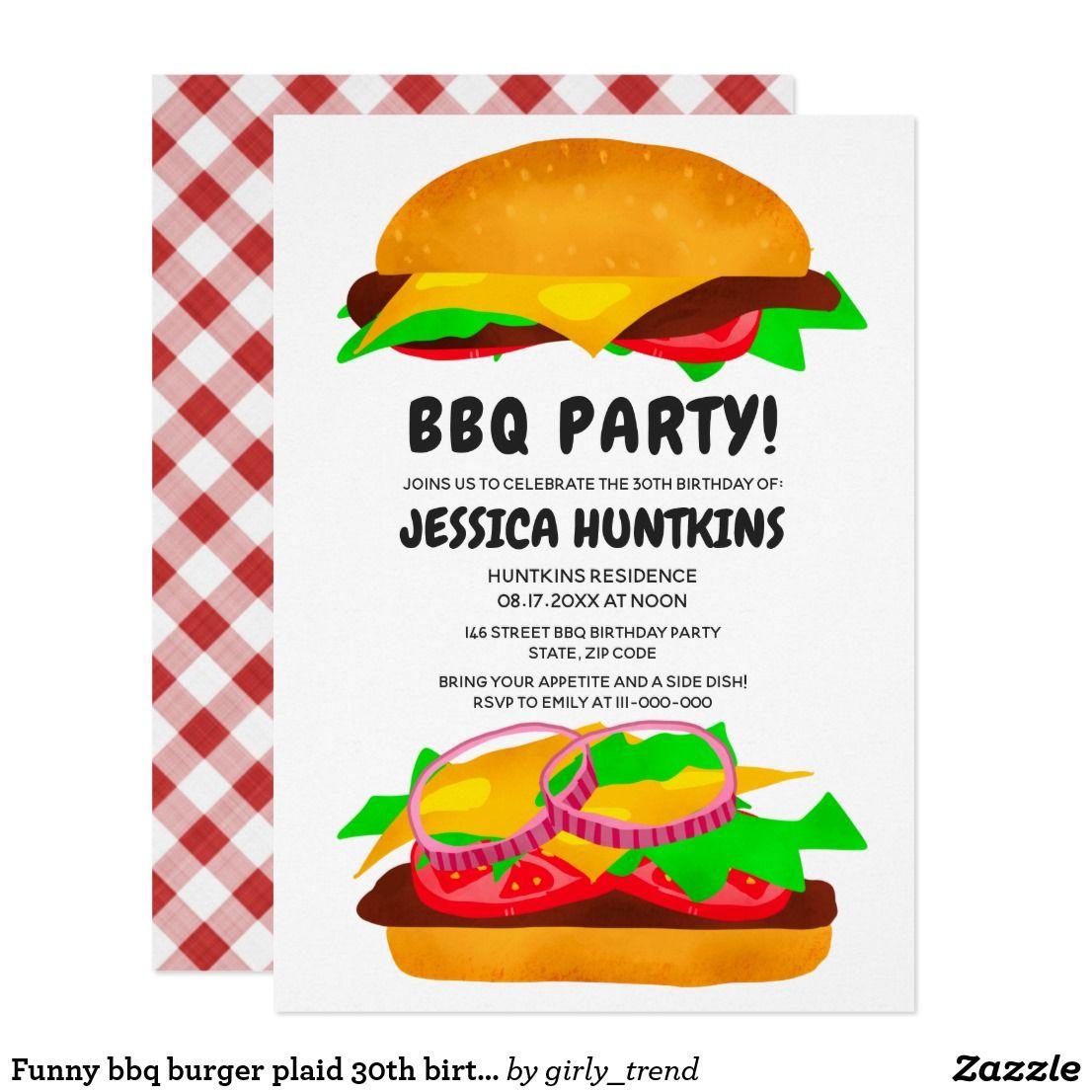 Funny bbq burger plaid 30th birthday party invitat