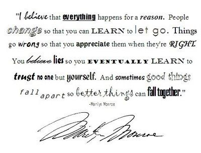 Everything Happens For A Reason Inspired Marilyn Monroe W O R D S