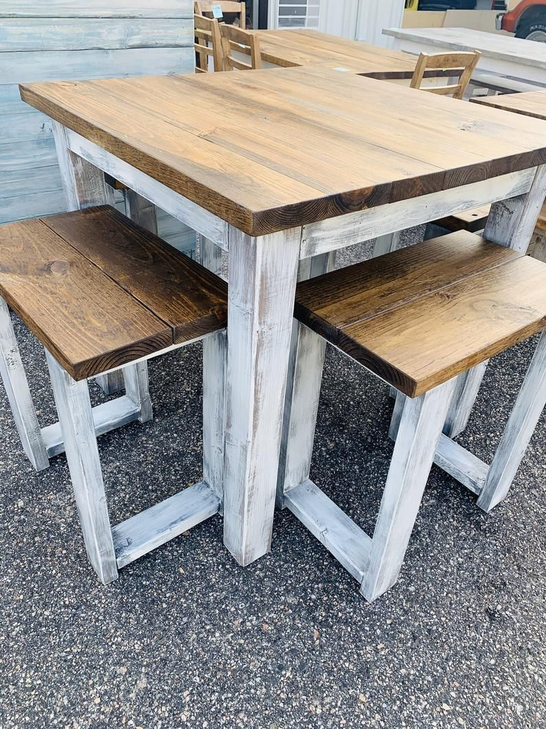 Counter height rustic farmhouse table with stools high top