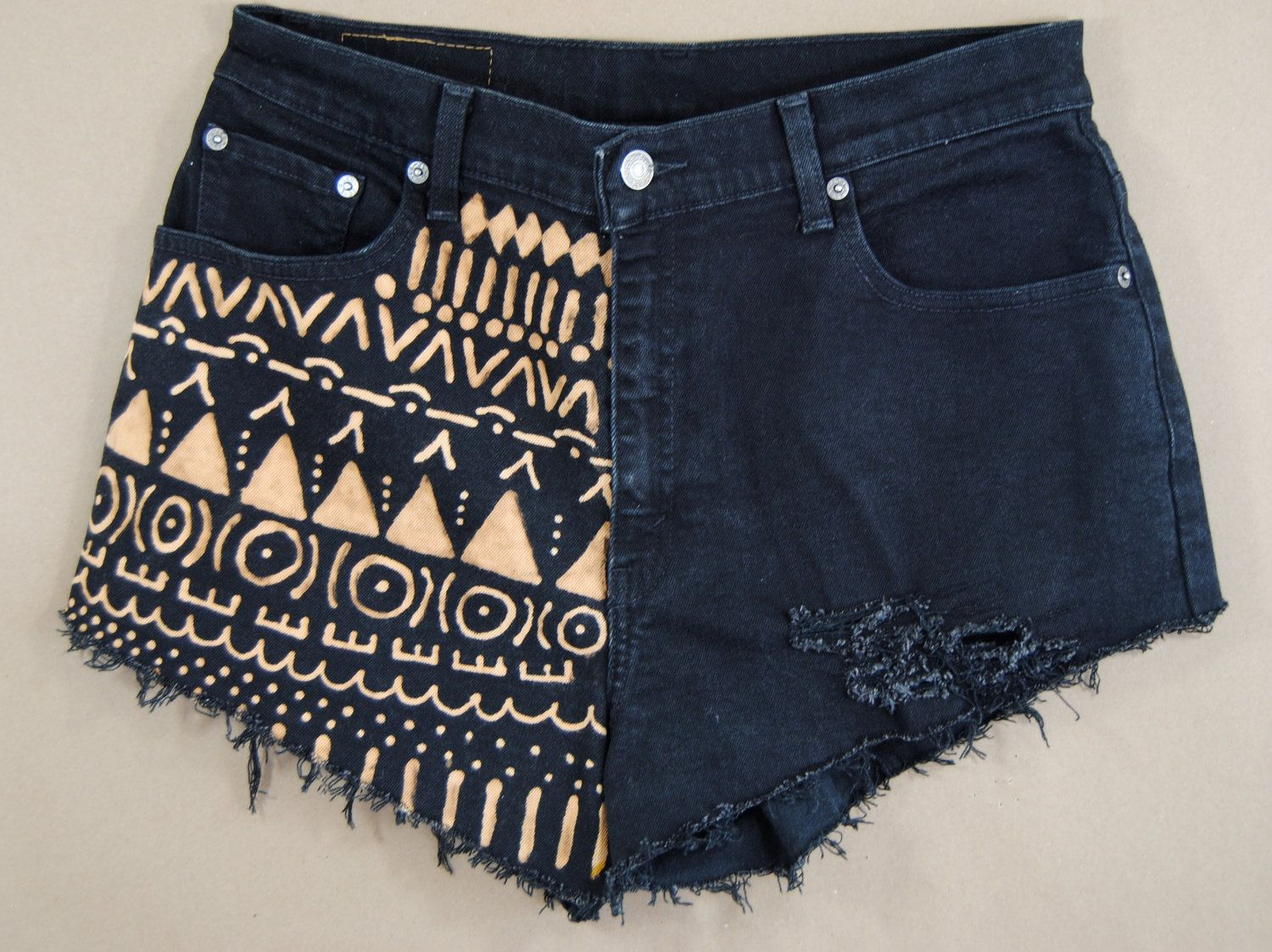 Bleached denim / tribal printed shorts / hand painted shorts ...