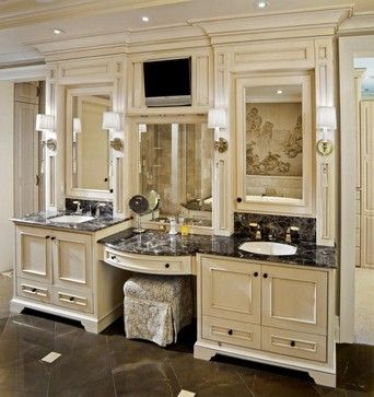 Master Bathroom Vanity With Makeup Area Design Pictures Remodel
