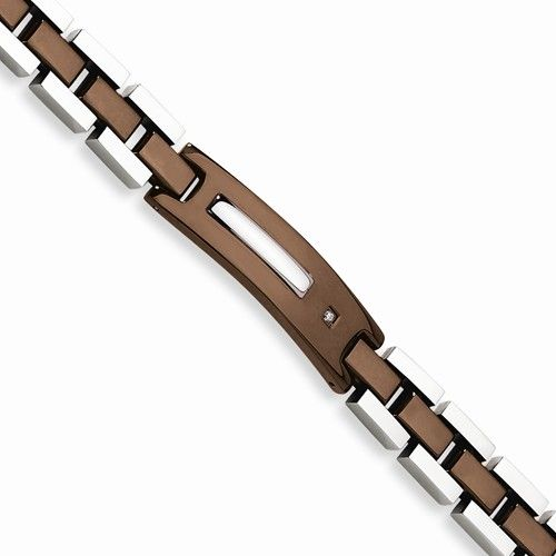 Chisel Stainless Steel Chocolate IP Plated Diamond Bracelet