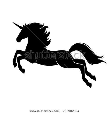 Silhouette Of Magical Cute Unicorn. Stylish Icon, Template, Background,  Tattoo. Print