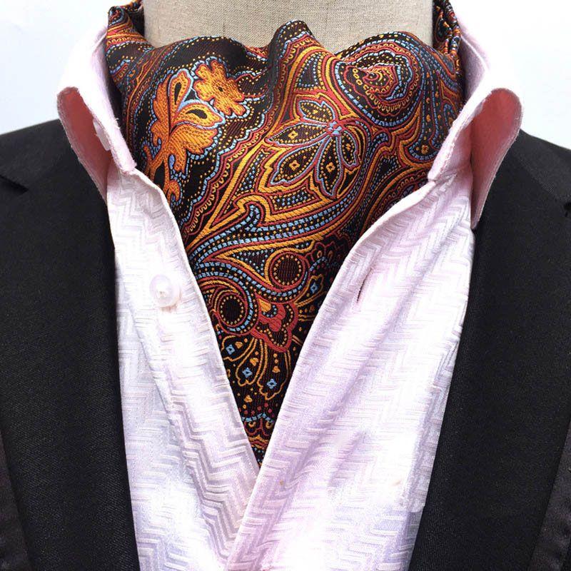 Men/'s Vintage Necktie Formal Cravat Ascot Scrunch Flower Pattern Silk Neck Tie
