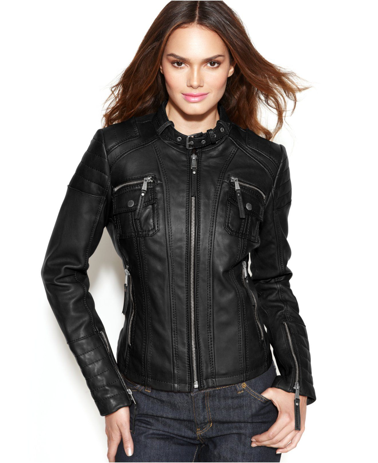 MICHAEL Michael Kors Leather Buckle-Collar Motorcycle Jacket ...