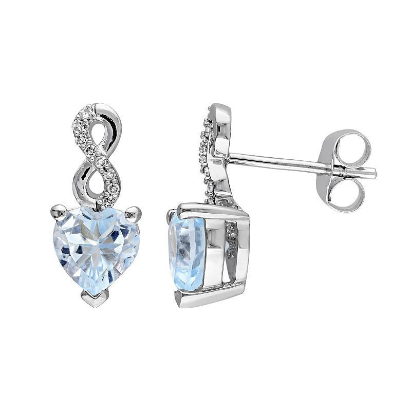 Laura Ashley 10k White Gold Sky Blue Topaz Diamond Accent Infinity Heart Stud Earrings