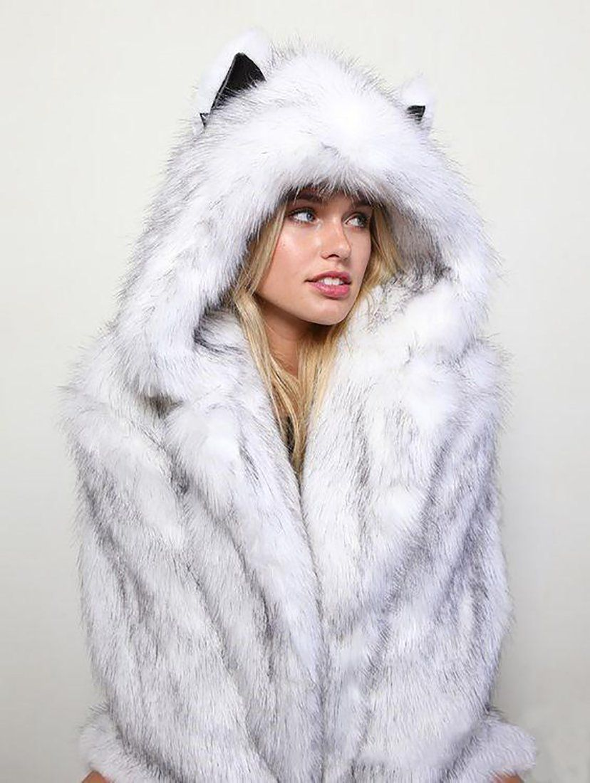 Women's Jacket Faux Fox Fur Hooded Cat Ears Warm Long