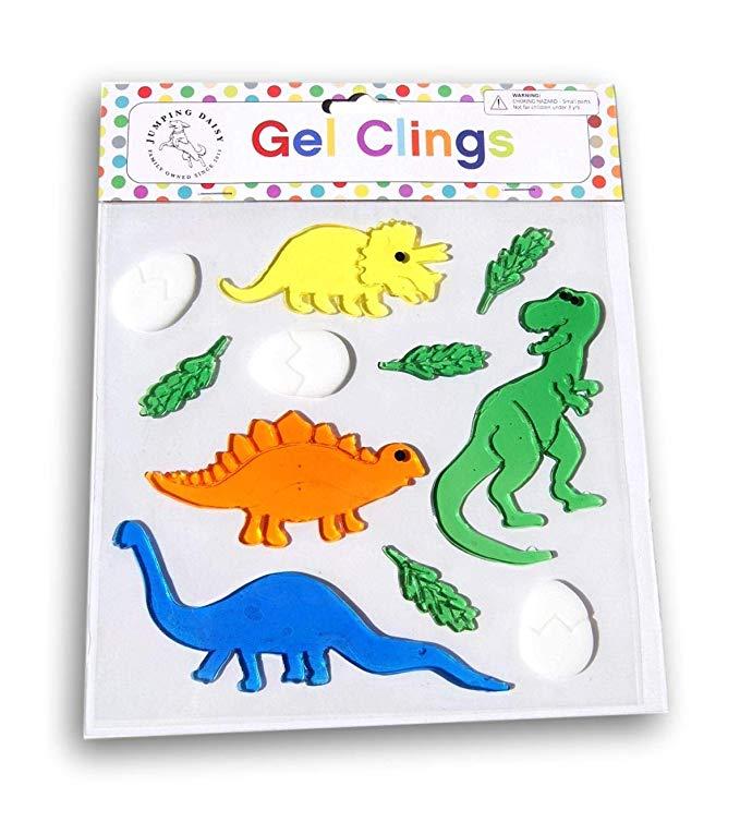 Dinosaurs Jumping Daisy Small Decorative Window Gel Clings