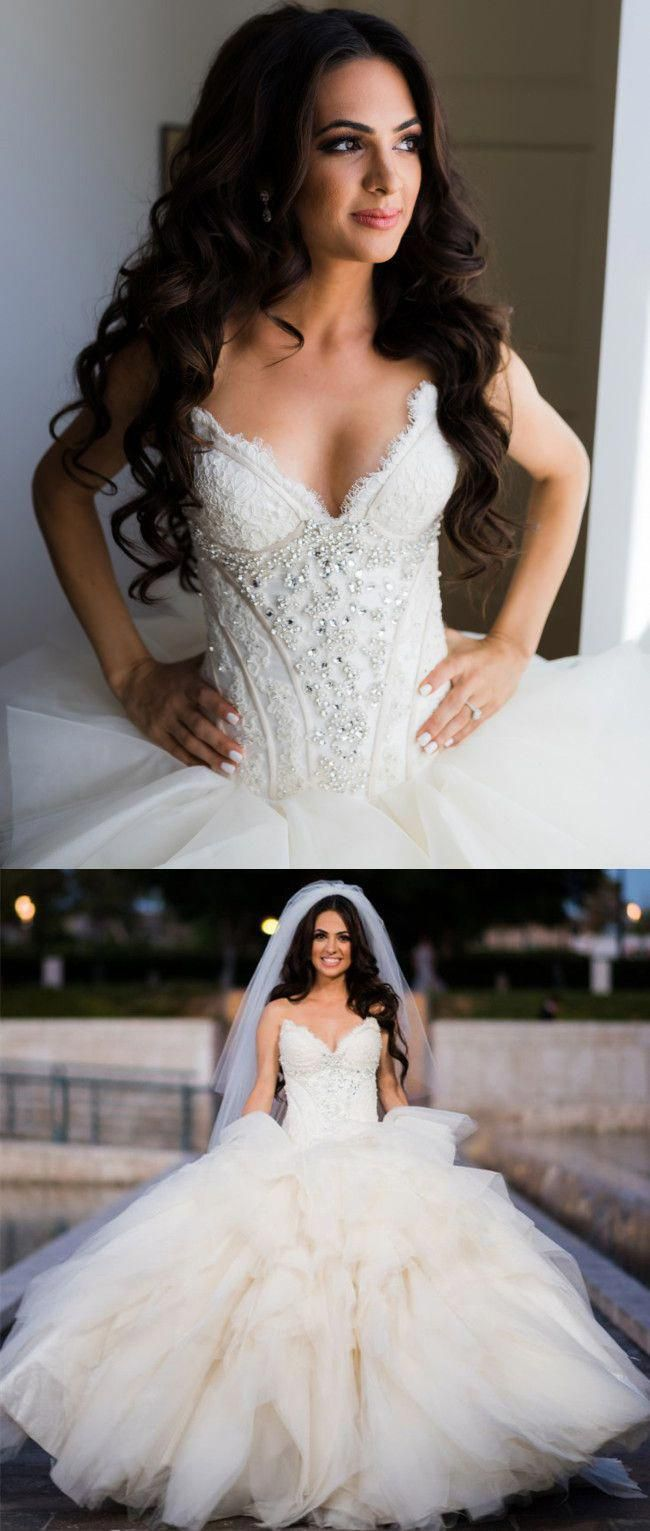 Strapless Ivory Long Wedding Dress with Corset Top in 2020