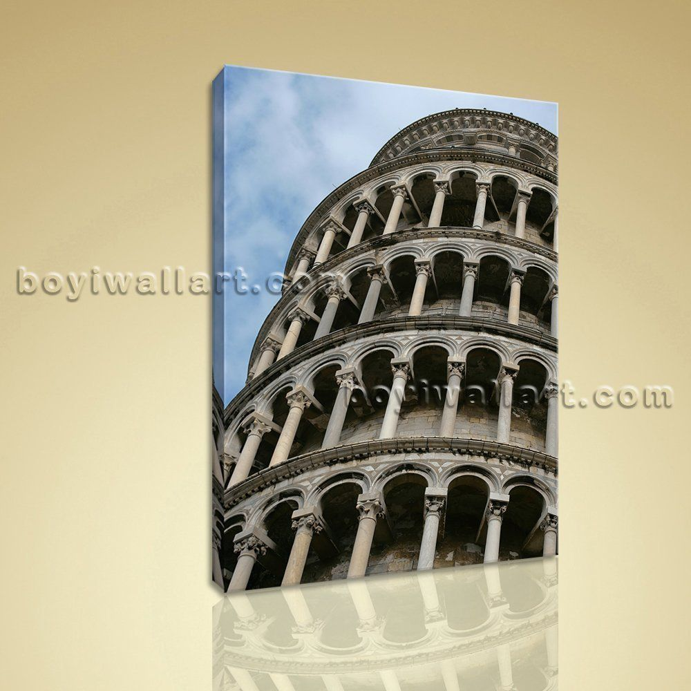 Hd print on canvas retro landmarks leaning tower of pisa picture
