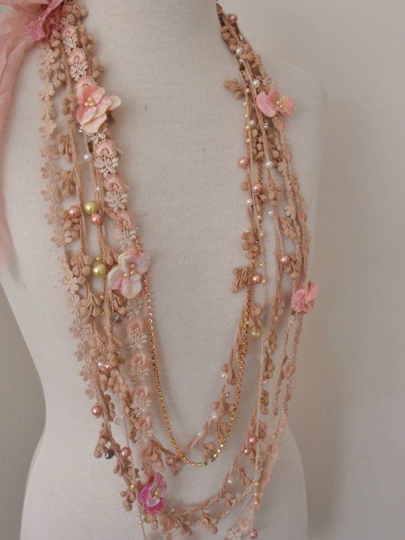 Shabby chic lace beaded necklace boho beaded lace by RawHemline