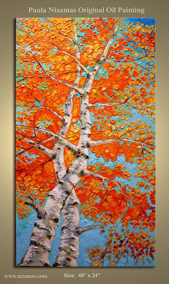 Large Impressionist Palette Knife Painting Silver Birch
