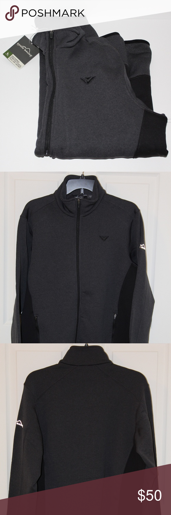EDDIE BAUER HEATHERED FLEECE JACKET W/ VIZIO LOGO Boutique