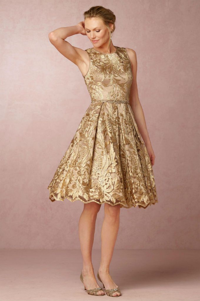 Gold Lace Cocktail Dress