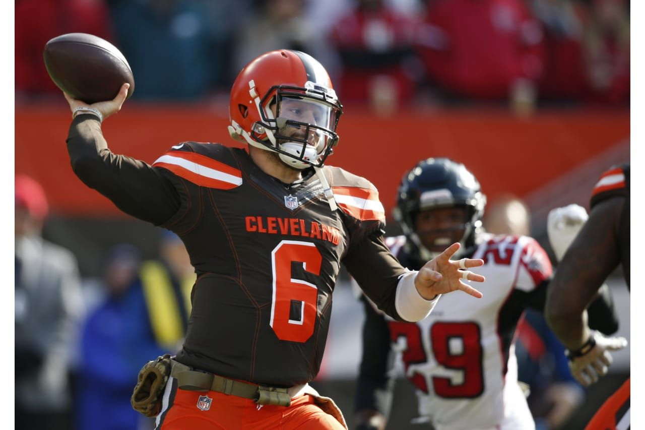 Cleveland Browns Quarterback Baker Mayfield Looks To Throw In The First Half Of An Nfl Foo Cleveland Browns History Cleveland Browns Quarterback Baker Mayfield