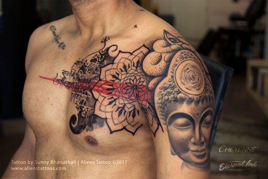 Beautiful Geometric Buddha Mandala Chest Tattoo By Ariesrhysing Geometric Chest Mandala Chest Tattoo Chest Tattoo Buddha