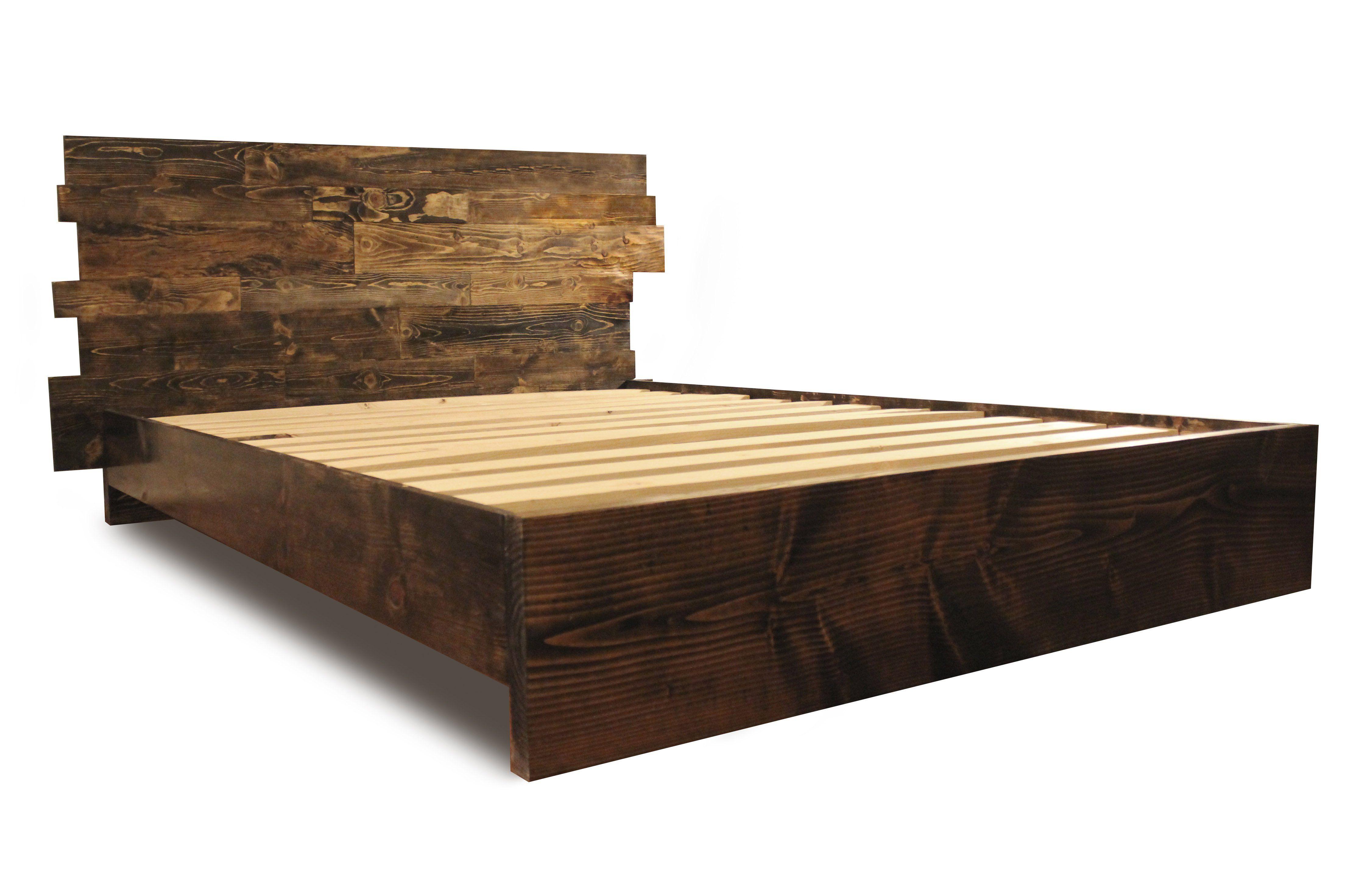 Prescott offset Bed frame, headboard, Wooden platform