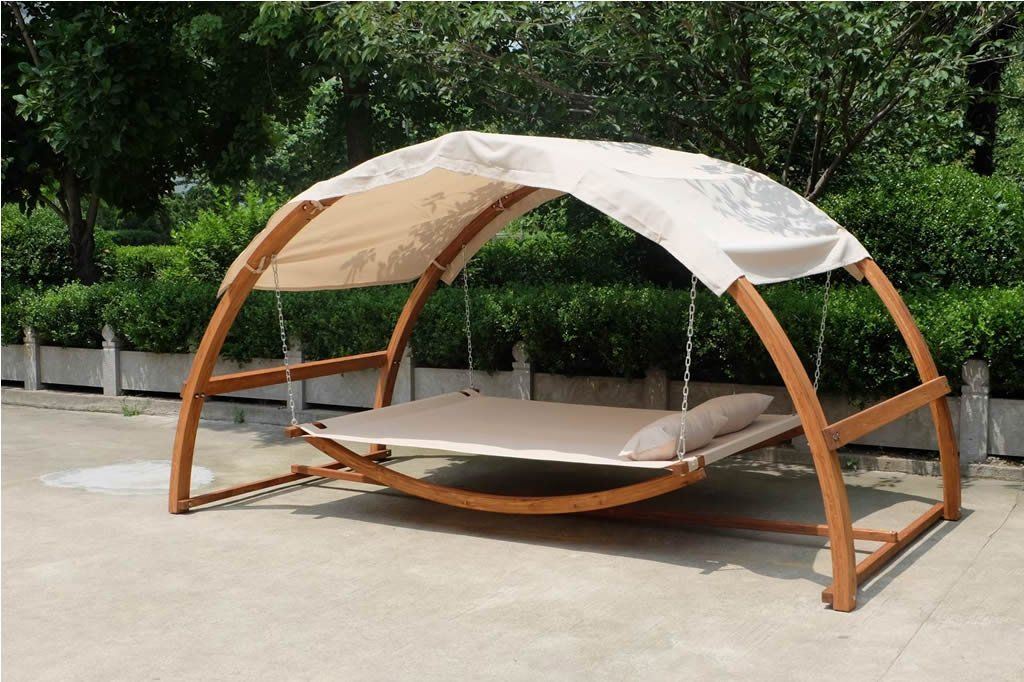 NEW+Deluxe+Two+Person+Arched+Wood+Swing+Canopy+
