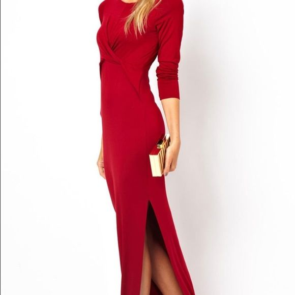 Red Maxi dressHost Pick Lady in red dress. Long sleeve crew neck cross cross knot design in front split just above knee. Classic sexy dress. ️polyester for a great fit. ️fits up to a medium Dresses Maxi