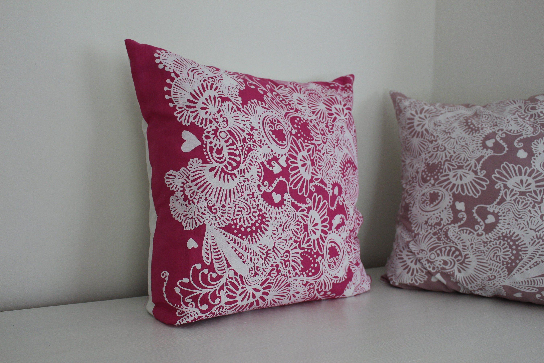 Kissen Ca 50x50 Pink Weiß Boho Geblümt Kissenhülle Etsy Blattmuster Kissen Decken Sofakissen
