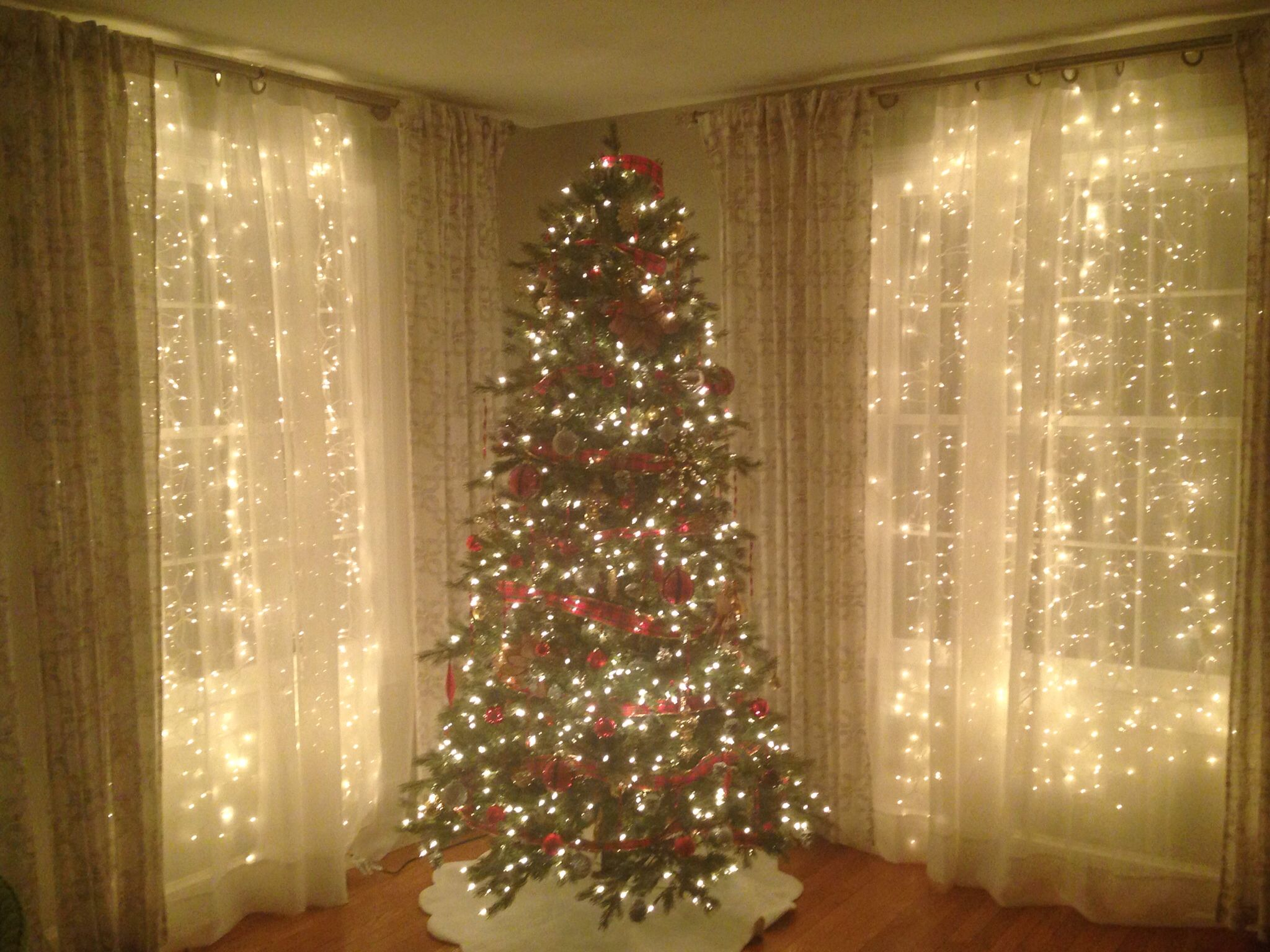 Sheer Curtains With Christmas Lights