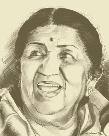 """Portrait Of Lata Mangeshkar"" #Creative #Art in #sketching @Touchtalent http://bit.ly/Touchtalent-p"