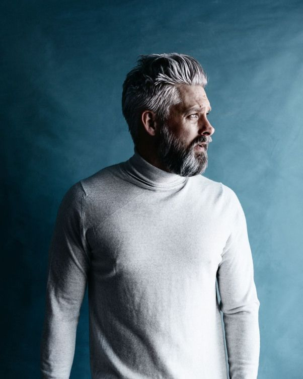 Model Swede grey hair 40 beard man male manly fit over 40 grey silverfox silver posing photography p...