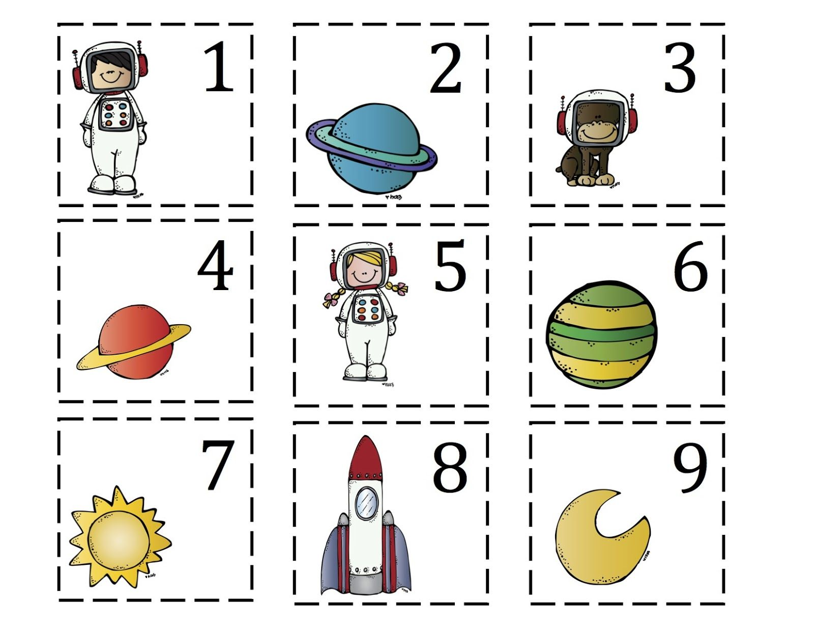 Number Cards To Match Rocket To The Moon Printable