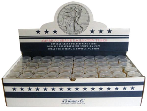 Harris Box of 100 Quarter Polypropylene Round Coin Tubes 25 Cents H.E