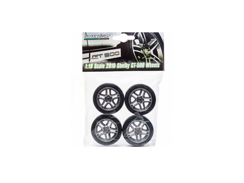 Ford Shelby Mustang GT500 Wheels and Tires Set 1/18 by Greenlight - Brand new 1:18 scale Ford Shelby Mustang GT500 Wheels and Tires Set by Greenlight. Rubber Tires. Officially Licensed Product.-Weight: 1. Height: 5. Width: 9. Box Weight: 1. Box Width: 9. Box Height: 5. Box Depth: 5