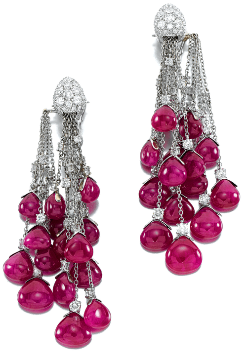 Pair of ruby and diamond earrings, Michele Della Valle. Each designed as articulated lines set with brilliant-cut diamonds, each terminating in a ruby drop, suspended from a mount pavé-set with brilliant-cut diamonds, clip fittings, unsigned, case. Sotheby's.