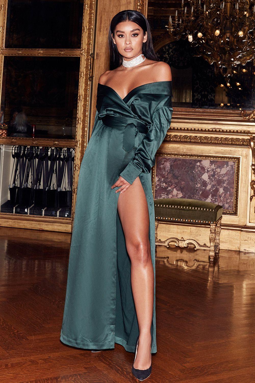 636df1516fac31  ANTOINETTE  Evergreen Satin Off Shoulder Maxi Wrap Dress     affiliatelink   ad  affiliate.