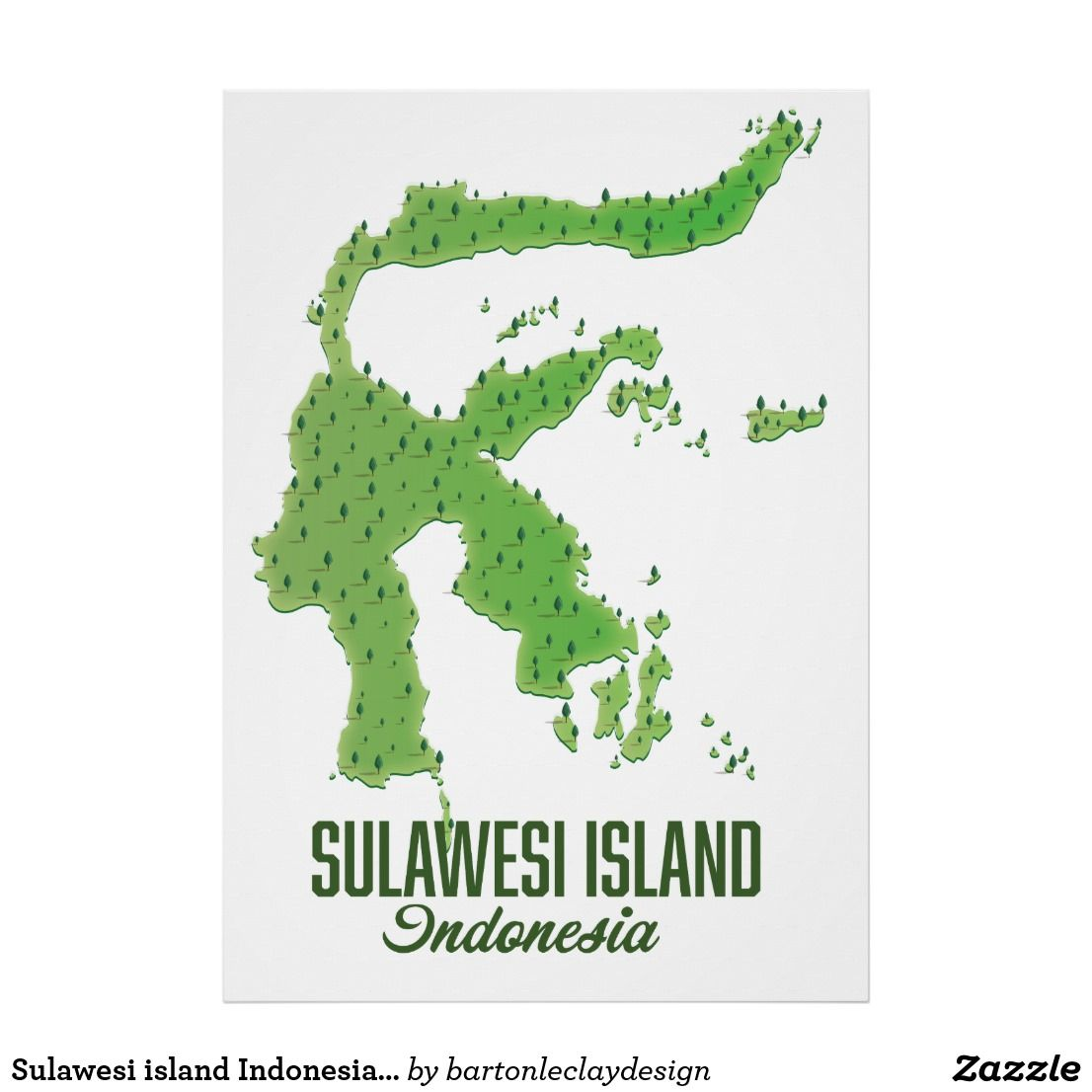 Sulawesi island Indonesia map Poster   Zazzle.com   Vintage travel posters, White elephant gifts ...