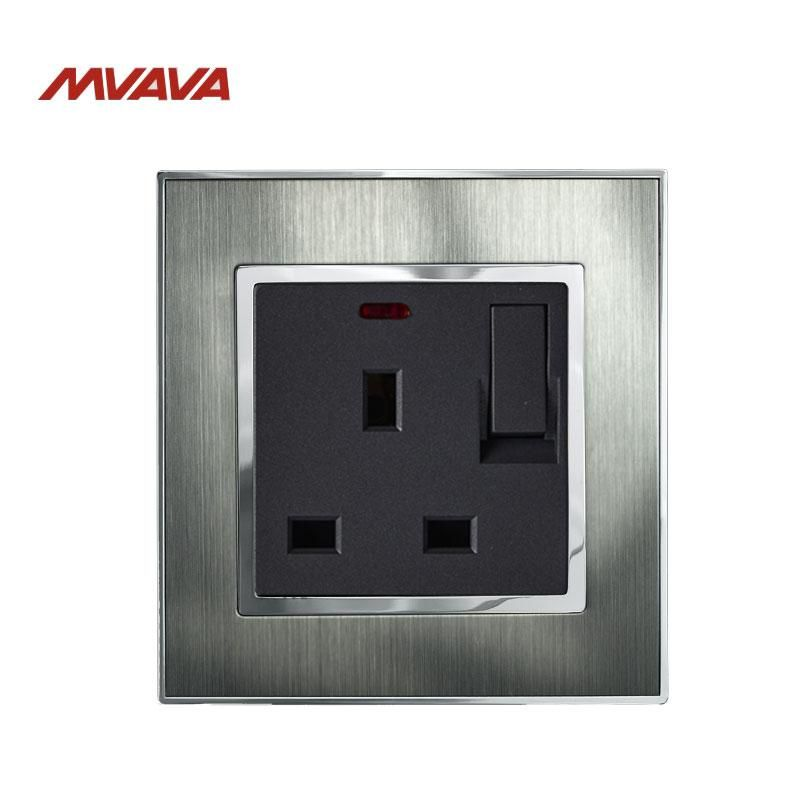 Mvava 13a Uk Standard Wall Switched Socket With Led Indicator Light Decorative Wall Plug With Switch Luxury Satin Me Wall Outlets Metal Panels Indicator Lights