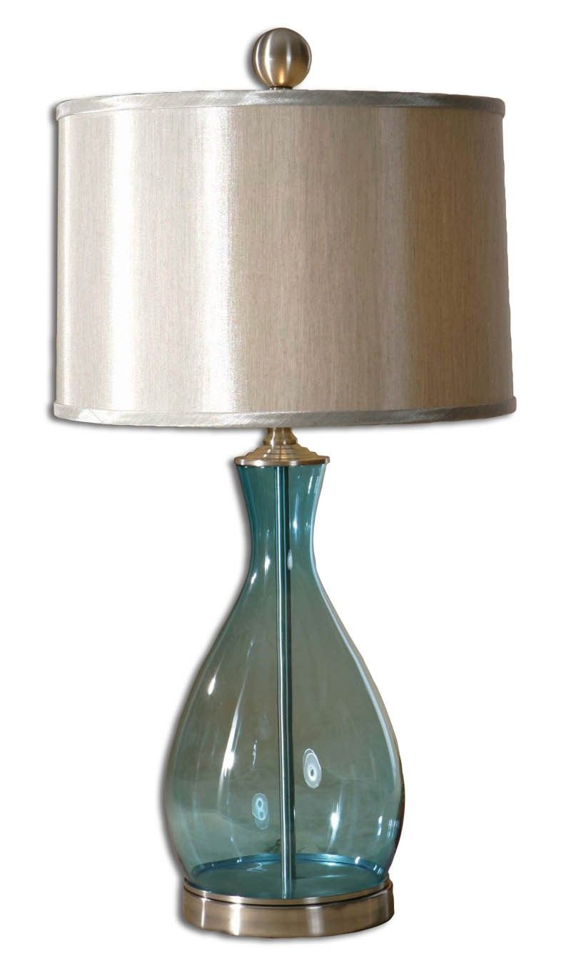 Uttermost Meena Blue Glass Table Lamp   Glass table lamps, Glass ...