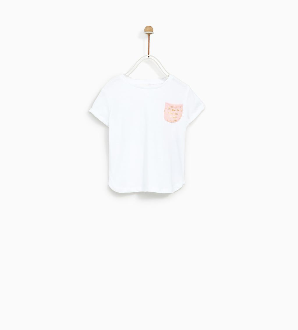 261c7718 T-SHIRT WITH SHINY PRINT ON THE POCKET-T-SHIRTS-BABY GIRL | 3 months - 4  years-KIDS | ZARA United States