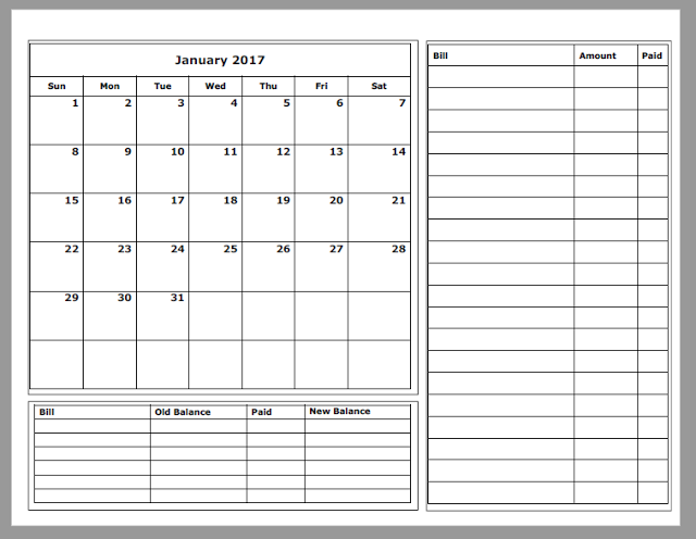image about Printable Budget Calendar named Grace Christian Homeschool: Totally free 2017 Funds Calendars